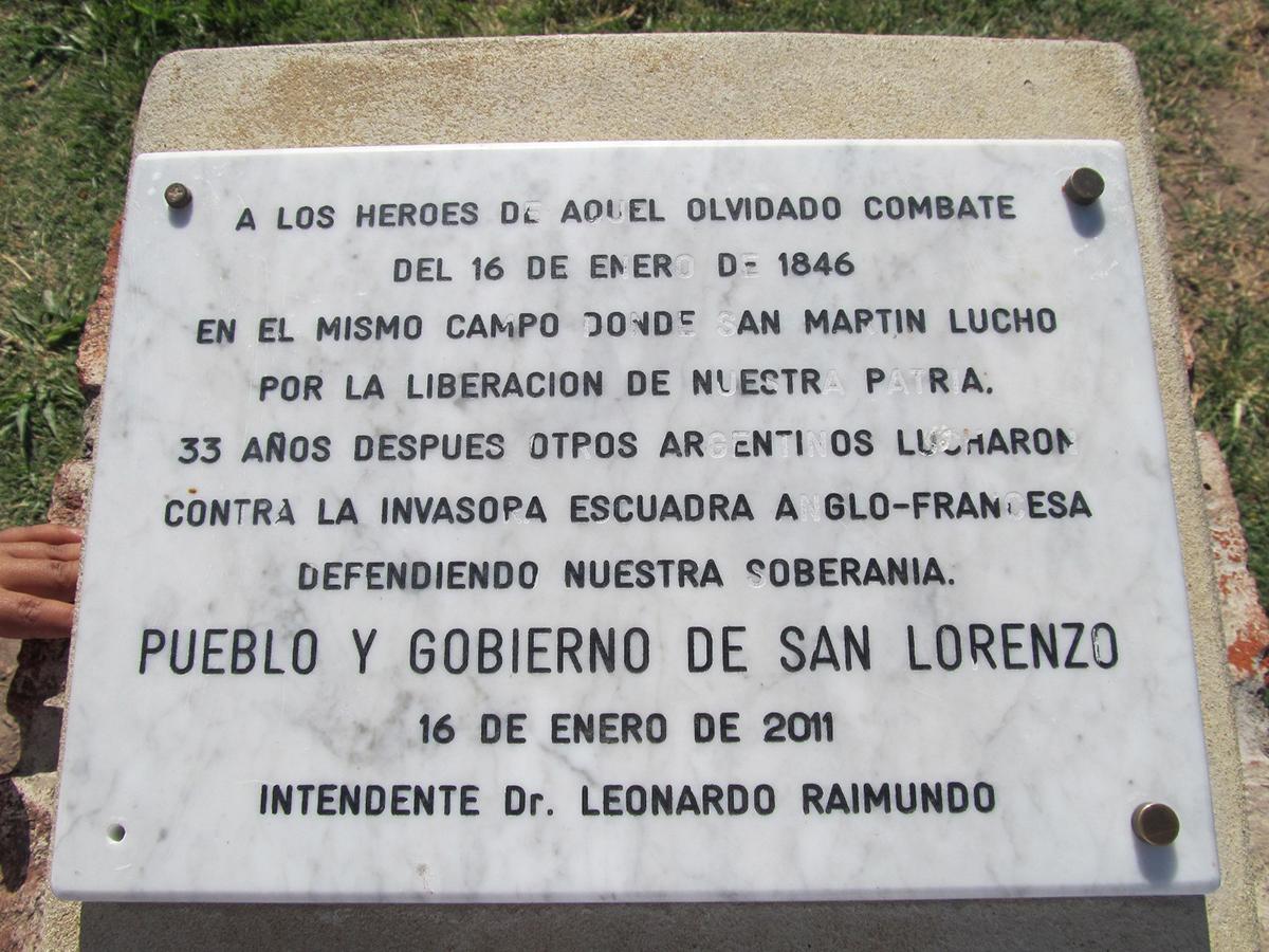 Placa Conmemorativa al Segundo Combate de San Lorenzo